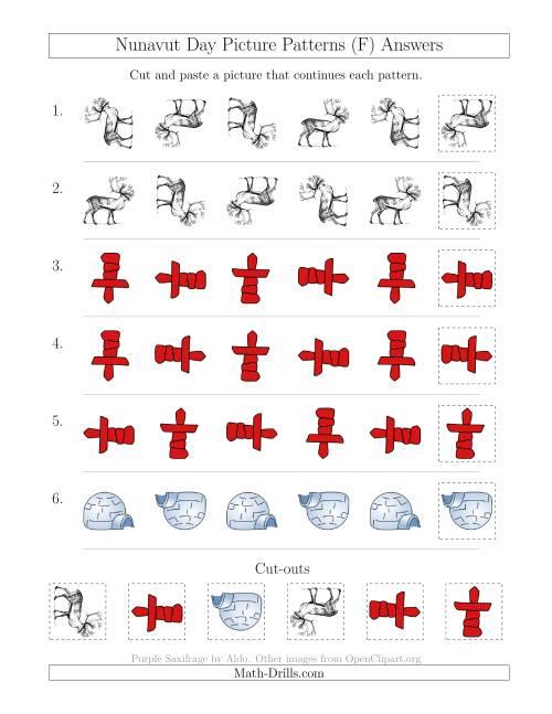 The Nunavut Day Picture Patterns with Rotation Attribute Only (F) Math Worksheet Page 2