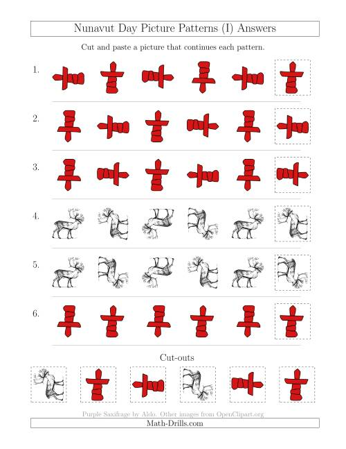 The Nunavut Day Picture Patterns with Rotation Attribute Only (I) Math Worksheet Page 2
