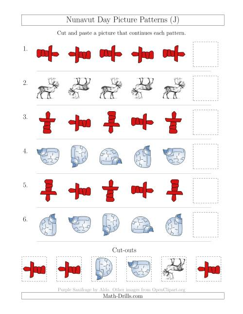 The Nunavut Day Picture Patterns with Rotation Attribute Only (J) Math Worksheet
