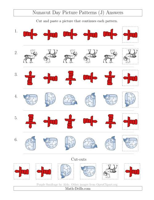 The Nunavut Day Picture Patterns with Rotation Attribute Only (J) Math Worksheet Page 2