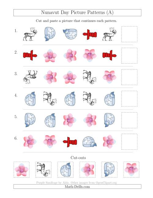 The Nunavut Day Picture Patterns with Shape and Rotation Attributes (A) Holiday Math Worksheet