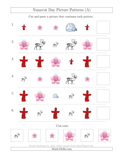 The Nunavut Day Picture Patterns with Shape and Size Attributes (A) Math Worksheet