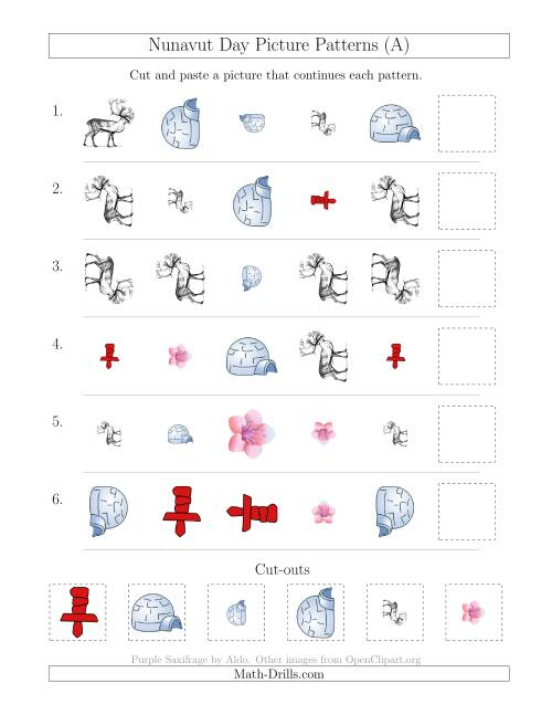 The Nunavut Day Picture Patterns with Shape, Size and Rotation Attributes (A) Holiday Math Worksheet