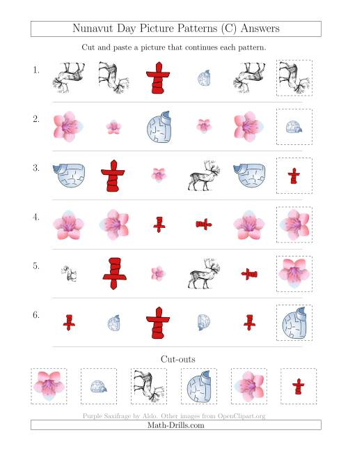 The Nunavut Day Picture Patterns with Shape, Size and Rotation Attributes (C) Math Worksheet Page 2