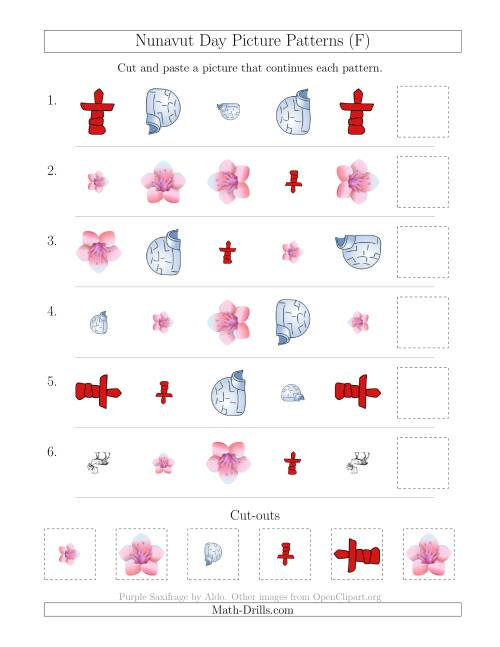 The Nunavut Day Picture Patterns with Shape, Size and Rotation Attributes (F) Math Worksheet