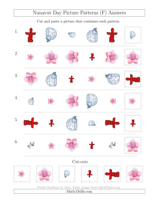 The Nunavut Day Picture Patterns with Shape, Size and Rotation Attributes (F) Math Worksheet Page 2