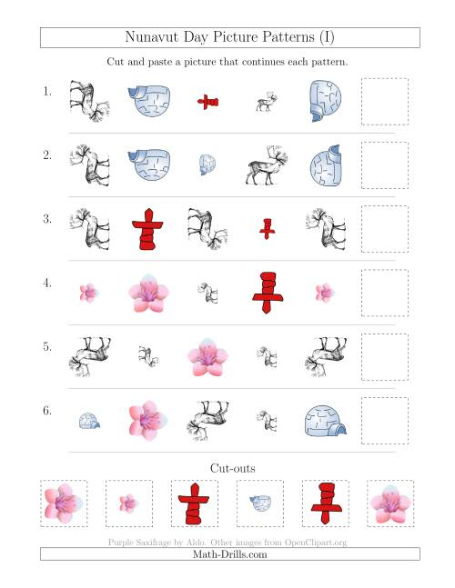 The Nunavut Day Picture Patterns with Shape, Size and Rotation Attributes (I) Math Worksheet