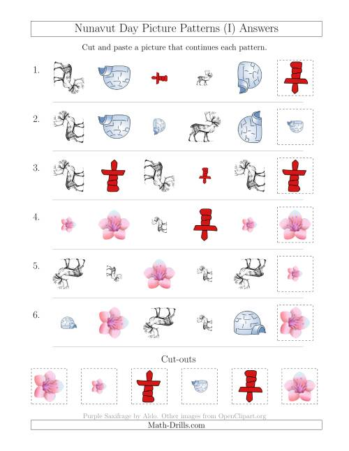The Nunavut Day Picture Patterns with Shape, Size and Rotation Attributes (I) Math Worksheet Page 2