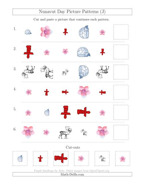The Nunavut Day Picture Patterns with Shape, Size and Rotation Attributes (J) Math Worksheet