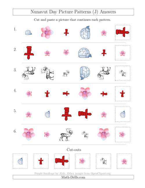 The Nunavut Day Picture Patterns with Shape, Size and Rotation Attributes (J) Math Worksheet Page 2