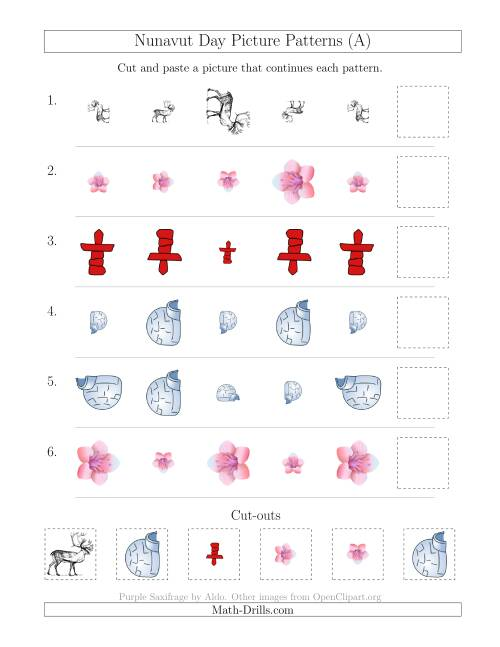The Nunavut Day Picture Patterns with Size and Rotation Attributes (A) Math Worksheet