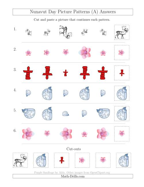 The Nunavut Day Picture Patterns with Size and Rotation Attributes (A) Math Worksheet Page 2