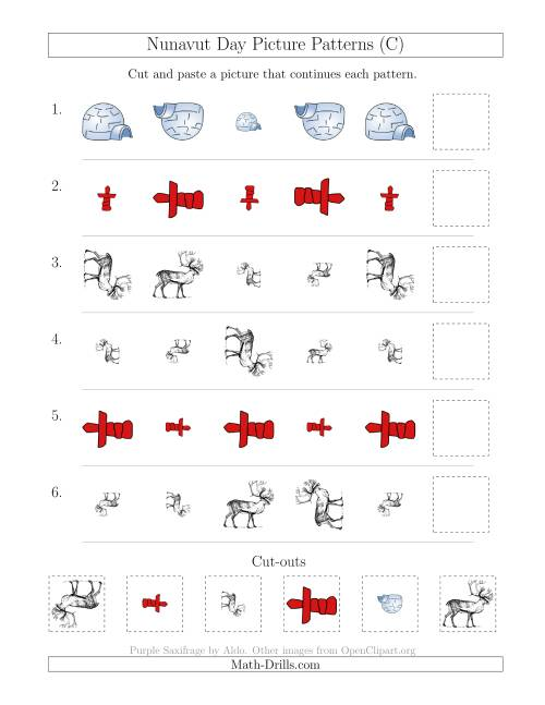 The Nunavut Day Picture Patterns with Size and Rotation Attributes (C) Math Worksheet