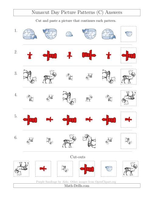 The Nunavut Day Picture Patterns with Size and Rotation Attributes (C) Math Worksheet Page 2