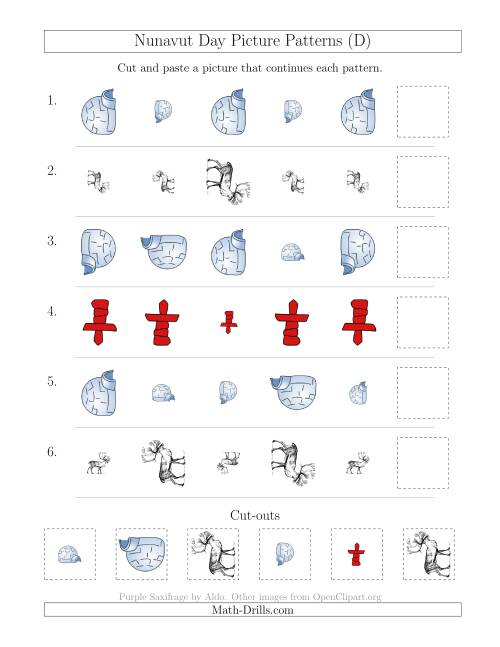 The Nunavut Day Picture Patterns with Size and Rotation Attributes (D) Math Worksheet