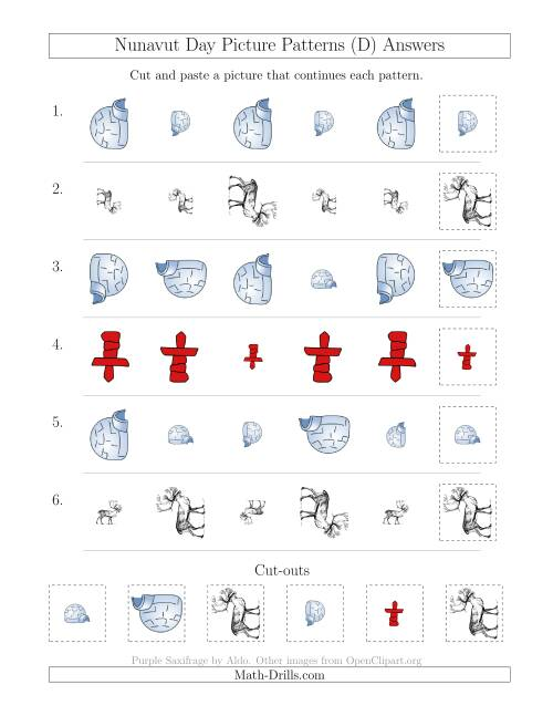 The Nunavut Day Picture Patterns with Size and Rotation Attributes (D) Math Worksheet Page 2