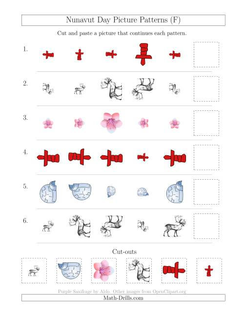 The Nunavut Day Picture Patterns with Size and Rotation Attributes (F) Math Worksheet