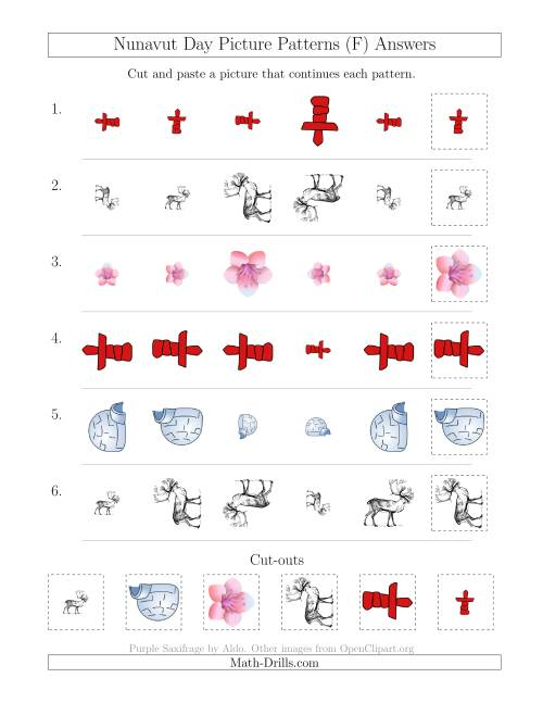 The Nunavut Day Picture Patterns with Size and Rotation Attributes (F) Math Worksheet Page 2