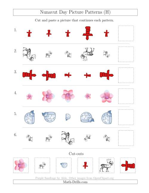 The Nunavut Day Picture Patterns with Size and Rotation Attributes (H) Math Worksheet