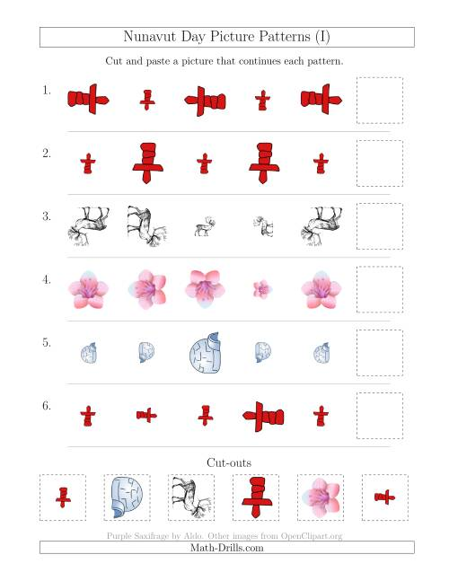 The Nunavut Day Picture Patterns with Size and Rotation Attributes (I) Math Worksheet