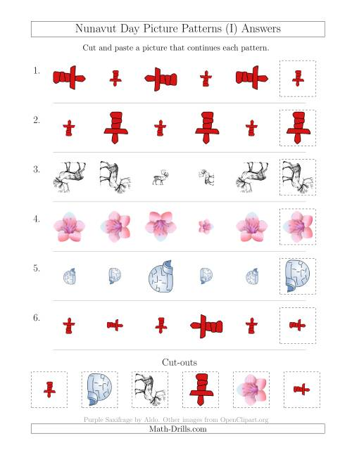The Nunavut Day Picture Patterns with Size and Rotation Attributes (I) Math Worksheet Page 2