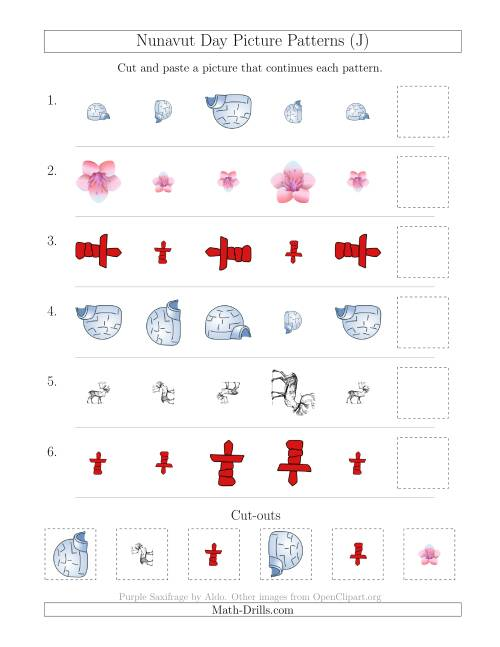 The Nunavut Day Picture Patterns with Size and Rotation Attributes (J) Math Worksheet