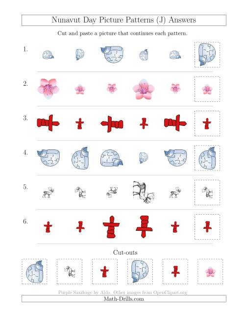 The Nunavut Day Picture Patterns with Size and Rotation Attributes (J) Math Worksheet Page 2
