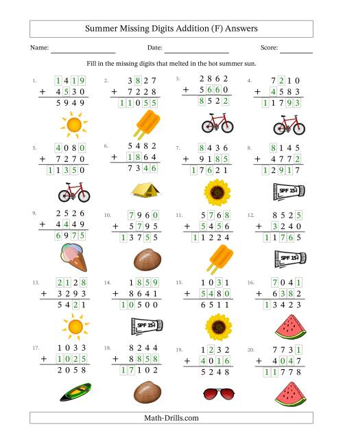 The Summer Missing Digits Addition (Harder Version) (F) Math Worksheet Page 2