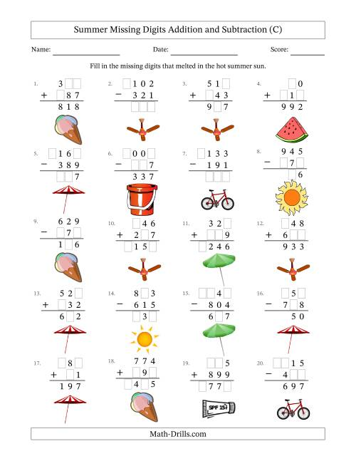 The Summer Missing Digits Addition and Subtraction (Easier Version) (C) Math Worksheet
