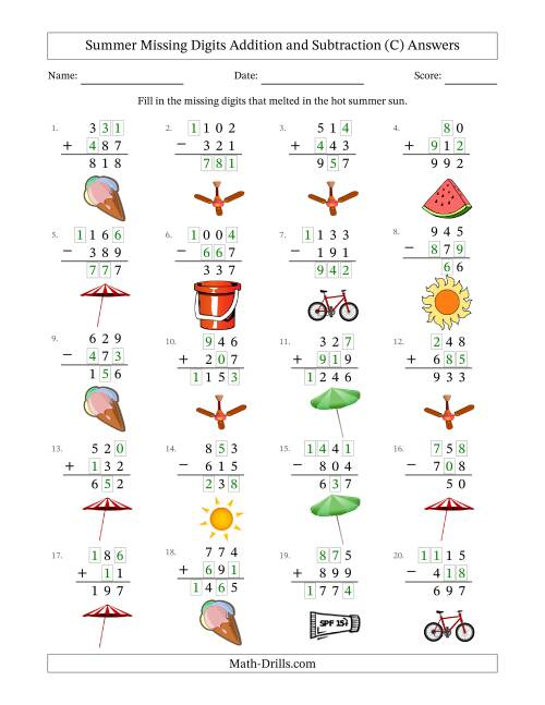 The Summer Missing Digits Addition and Subtraction (Easier Version) (C) Math Worksheet Page 2