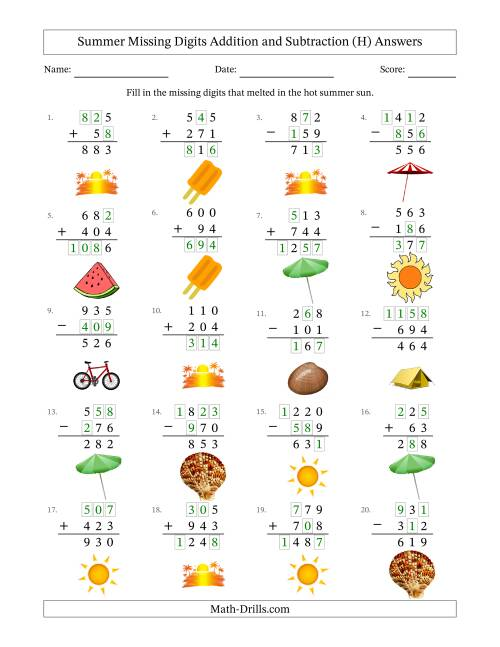 The Summer Missing Digits Addition and Subtraction (Easier Version) (H) Math Worksheet Page 2
