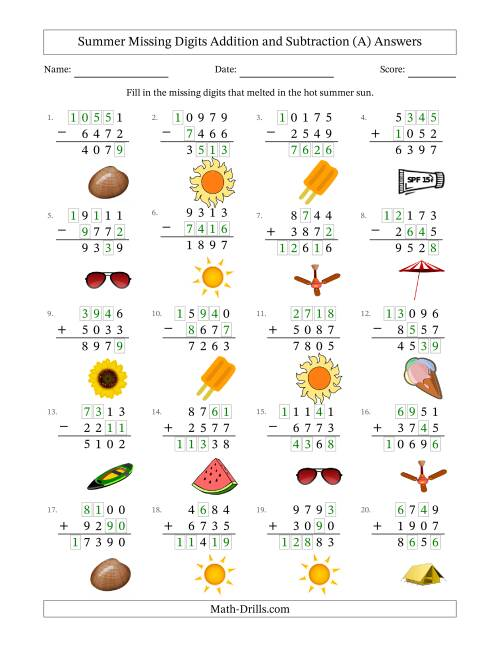 The Summer Missing Digits Addition and Subtraction (Harder Version) (A) Math Worksheet Page 2