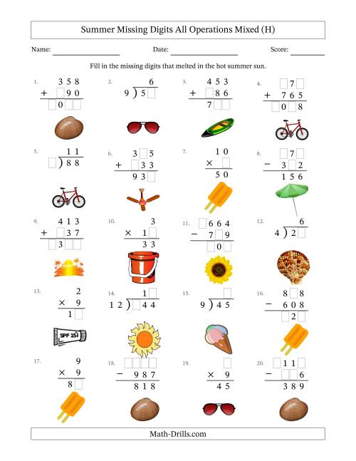 The Summer Missing Digits All Operations Mixed (Easier Version) (H) Math Worksheet