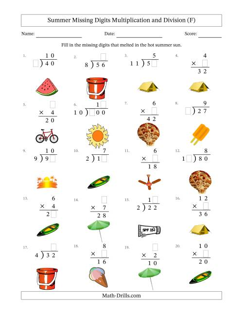 The Summer Missing Digits Multiplication and Division (Easier Version) (F) Math Worksheet