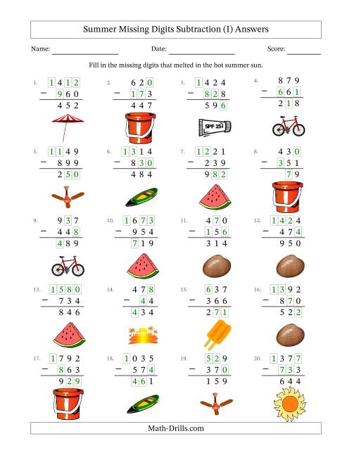 The Summer Missing Digits Subtraction (Easier Version) (I) Math Worksheet Page 2