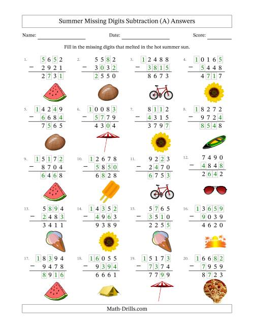 The Summer Missing Digits Subtraction (Harder Version) (A) Math Worksheet Page 2