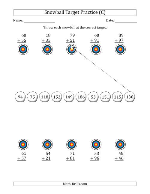 The Winter Snowball Target Practice Adding Two-Digit Numbers (C) Math Worksheet