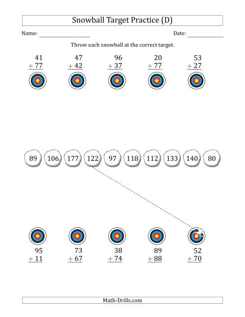 The Winter Snowball Target Practice Adding Two-Digit Numbers (D) Math Worksheet
