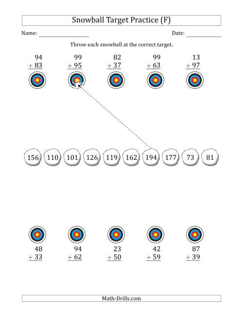 The Winter Snowball Target Practice Adding Two-Digit Numbers (F) Math Worksheet