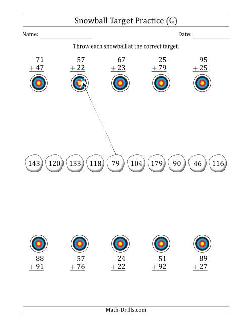 The Winter Snowball Target Practice Adding Two-Digit Numbers (G) Math Worksheet