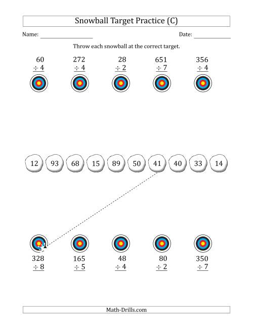 The Winter Snowball Target Practice Dividing by One-Digit Numbers (C) Math Worksheet