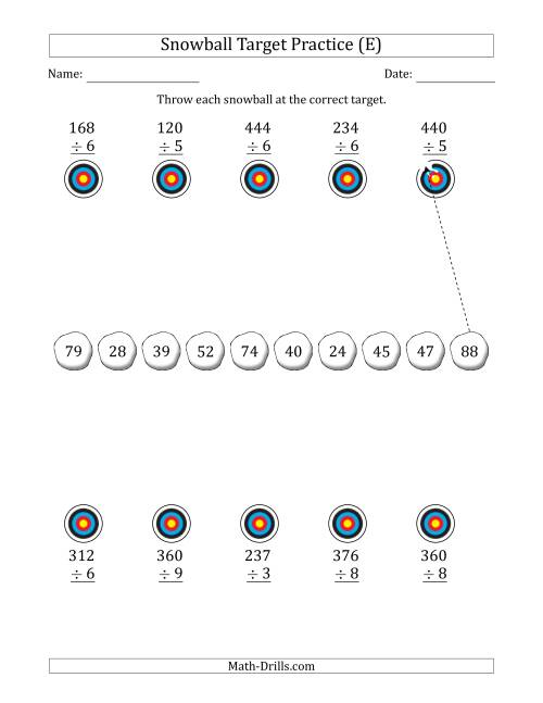 The Winter Snowball Target Practice Dividing by One-Digit Numbers (E) Math Worksheet