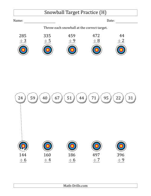 The Winter Snowball Target Practice Dividing by One-Digit Numbers (H) Math Worksheet