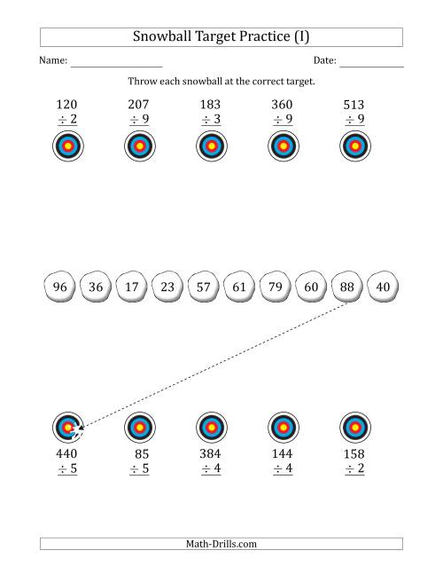 The Winter Snowball Target Practice Dividing by One-Digit Numbers (I) Math Worksheet