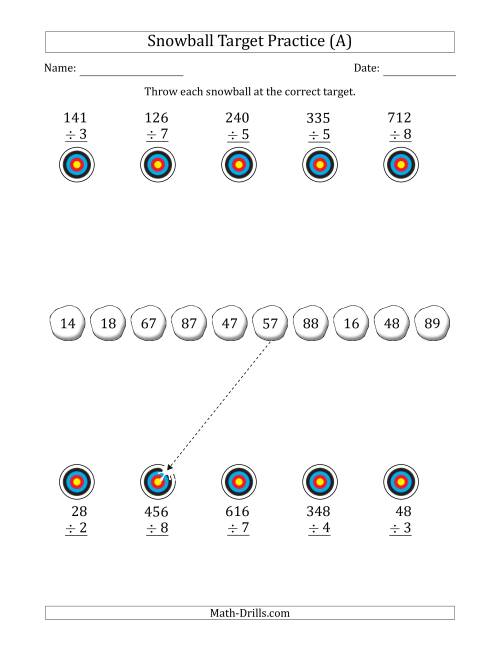 The Winter Snowball Target Practice Dividing by One-Digit Numbers (All) Math Worksheet