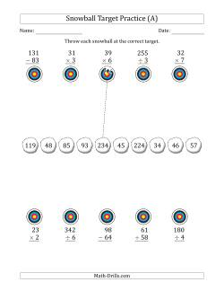 Winter Snowball Target Practice Mixed Operations with Smaller Numbers