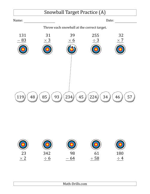 The Winter Snowball Target Practice Mixed Operations with Smaller Numbers (A) Math Worksheet
