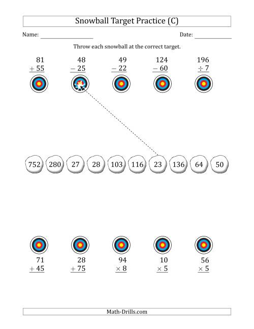 The Winter Snowball Target Practice Mixed Operations with Smaller Numbers (C) Math Worksheet