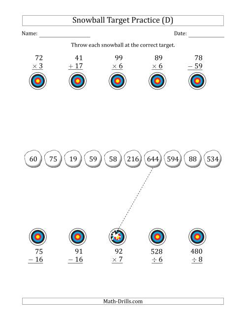 The Winter Snowball Target Practice Mixed Operations with Smaller Numbers (D) Math Worksheet