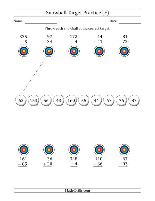 The Winter Snowball Target Practice Mixed Operations with Smaller Numbers (F) Math Worksheet